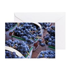 Baskets of concord grapes displayed  Greeting Card