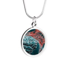 Brain and lightning, artwork Silver Round Necklace
