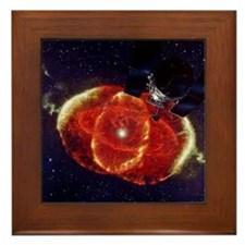 Cat's Eye Nebula and the Hubble telesc Framed Tile