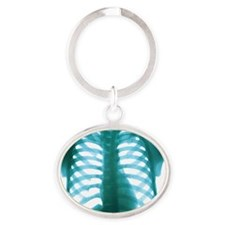 Chest X-ray of a healthy human heart Oval Keychain
