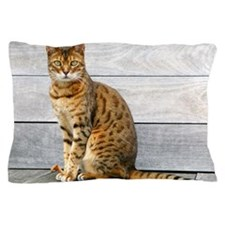 Bengal cat sitting on weathered deck. Pillow Case