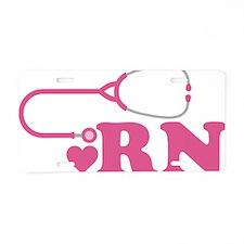 Heart RN Stethoscope Aluminum License Plate