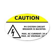 Solar PV Circuit Breaker Warning Oval Car Magnet