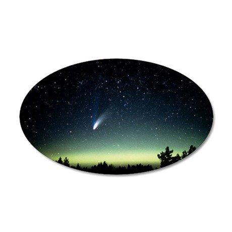 Comet Hale-Bopp and aurora b 35x21 Oval Wall Decal
