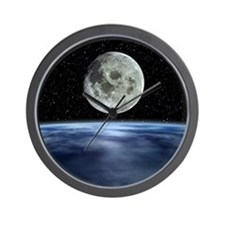 Computer artwork of full Moon over Eart Wall Clock