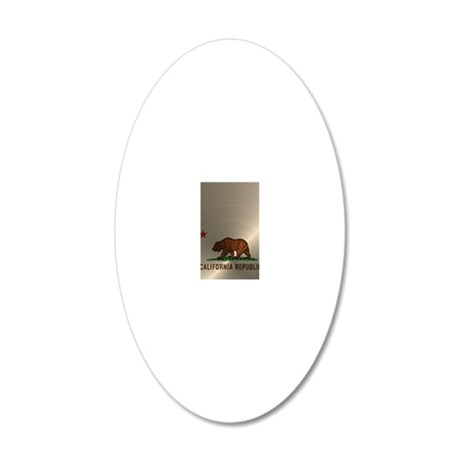 Gold California Republic 20x12 Oval Wall Decal