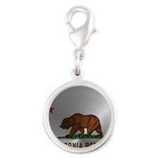Steel California Republic Silver Round Charm