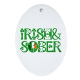 Irish And Sober Recovery Oval Ornament
