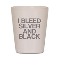 I Bleed Silver and Black Shot Glass
