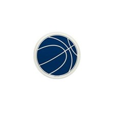 Blue and White Basketball Mini Button