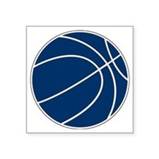 "Blue and White Basketball Square Sticker 3"" x 3"""