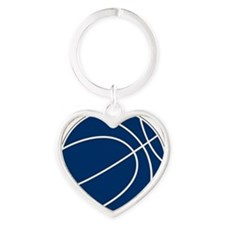 Blue and White Basketball Heart Keychain