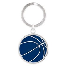 Blue and White Basketball Round Keychain