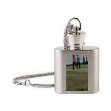Couple walking in a park Flask Necklace