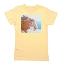 Elderly woman shading her eyes Girl's Tee