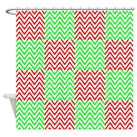 Red And Green On White Chevron Shower Curtain By Masterpieces1