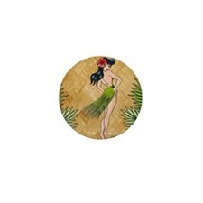 Island Girl in a grass skirt Mini Button