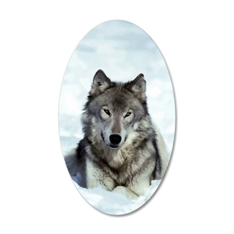 Wolf 35x21 Oval Wall Decal