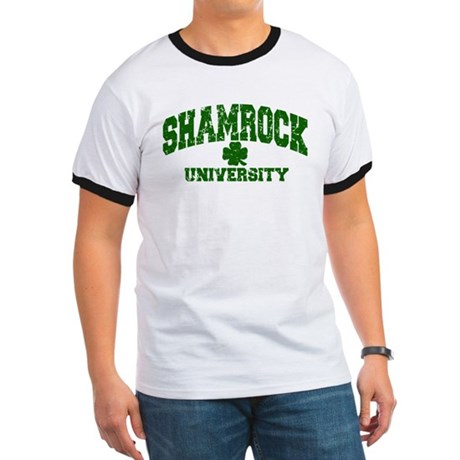 Shamrock University Distressed Ringer T