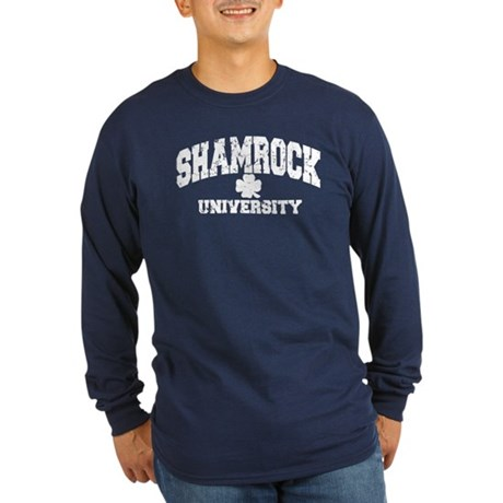 Shamrock University Distressed Long Sleeve Dark T-