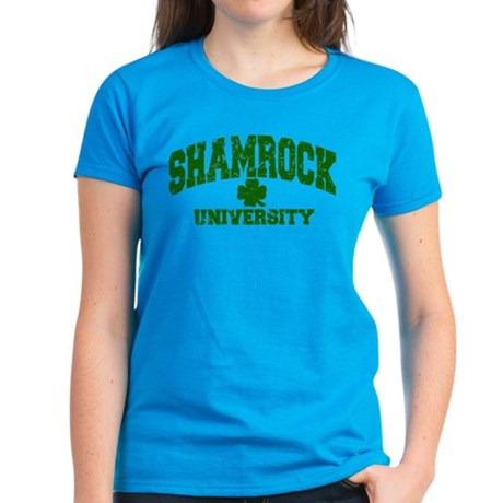 Shamrock University Distressed Women's Dark T-Shir