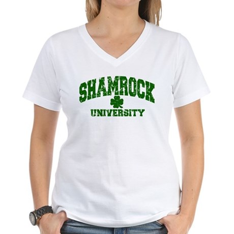 Shamrock University Distressed Women's V-Neck T-Sh