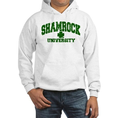 Shamrock University Distressed Hooded Sweatshirt