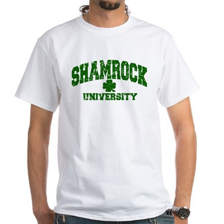 Shamrock University Distressed White T-Shirt