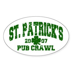 St. Pat's Pub Crawl Distressed Oval Sticker