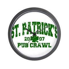 St. Pat's Pub Crawl Distressed Wall Clock