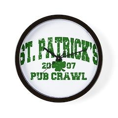 St. Pat's Pub Crawl Distressed Wall Clock