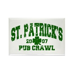 St. Pat's Pub Crawl Distressed Rectangle Magnet (1