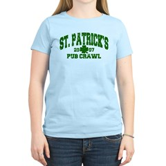 St. Pat's Pub Crawl Distressed Women's Light T-Shi