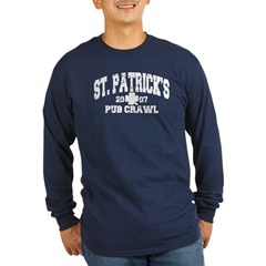 St. Pat's Pub Crawl Distressed Long Sleeve Dark T-