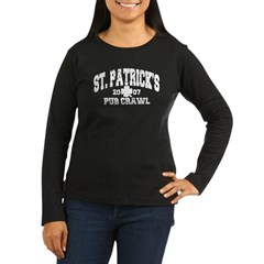 St. Pat's Pub Crawl Distressed Women's Long Sleeve