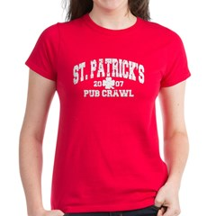 St. Pat's Pub Crawl Distressed Women's Dark T-Shir