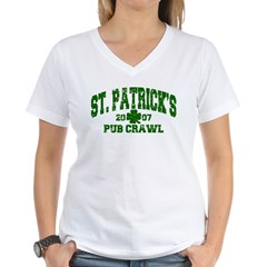 St. Pat's Pub Crawl Distressed Women's V-Neck T-Sh