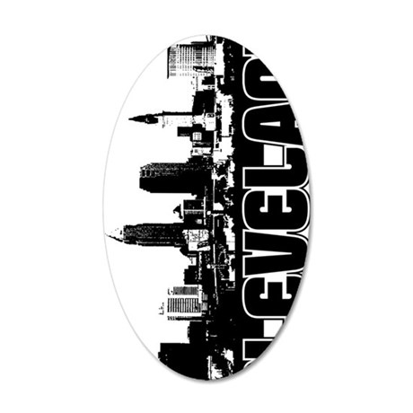 Cleveland Skyline V 35x21 Oval Wall Decal