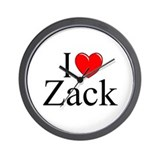"""I Love (Heart) Zack"" Wall Clock"