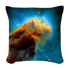 Gas pillars in the Eagle Nebul Woven Throw Pillow