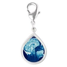 Healthy brain, MRI scan Silver Teardrop Charm