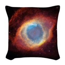 Helix nebula, HST image Woven Throw Pillow