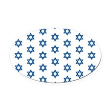 MDDuvetQueenWhiteMedBlueLargeStars Oval Car Magnet