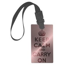 Metallic Pink Keep Calm And Carr Luggage Tag