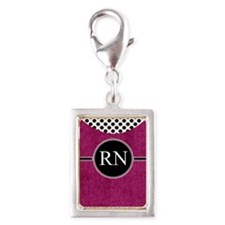RN fuschia cases Silver Portrait Charm