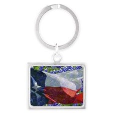 Texas flag bluebonnet card Landscape Keychain
