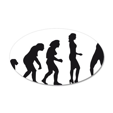 evolution female badminton p 35x21 Oval Wall Decal