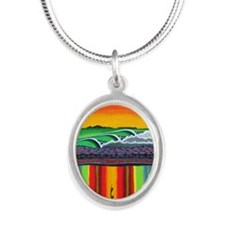 San Miguel Mural 2012 Silver Oval Necklace
