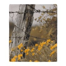 Wild flower fence post Throw Blanket