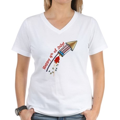 4th of July Rocket Women's V-Neck T-Shirt